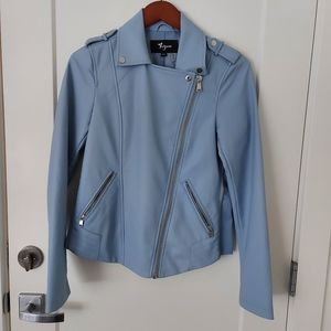 NWOT Thyme faux leather jacket in light blue